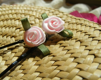 A pair of satin ROSETTES  - customizable on bobby pins, barrettes, combs or alligator clips
