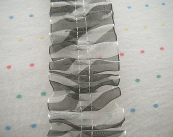 "Destash Black and White Zebra Print Organza Ruffle Trim, 1 1/2"" Wide - 2 1/2 Feet Long"
