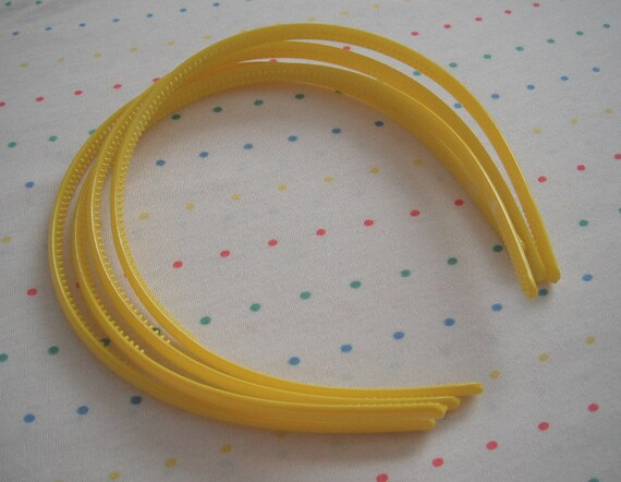 Yellow Plastic Headbands (4)