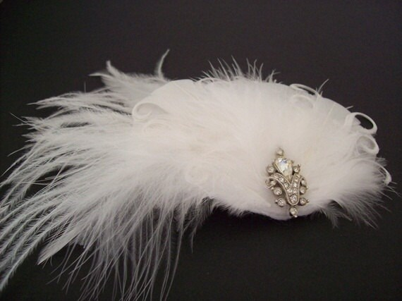 COUTURE HEADPIECE, OOAK Wedding Bridal Hair Accessory, Bridal Headpiece,  Bridal Hairpiece with Vintage Jewelry