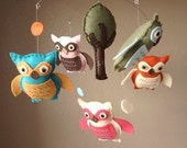 Lifes a Hoot Owl and Tree Felt Mobile - Custom Colors