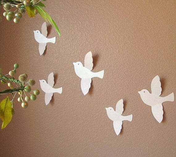 Blissful bird wall art handmade paper design 34 custom for Handmade home decorations