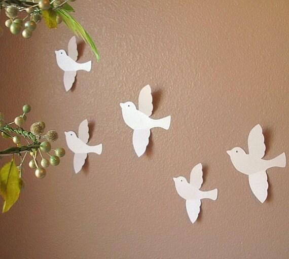 Paper Birds Wall Decor : Blissful bird wall art handmade paper design custom