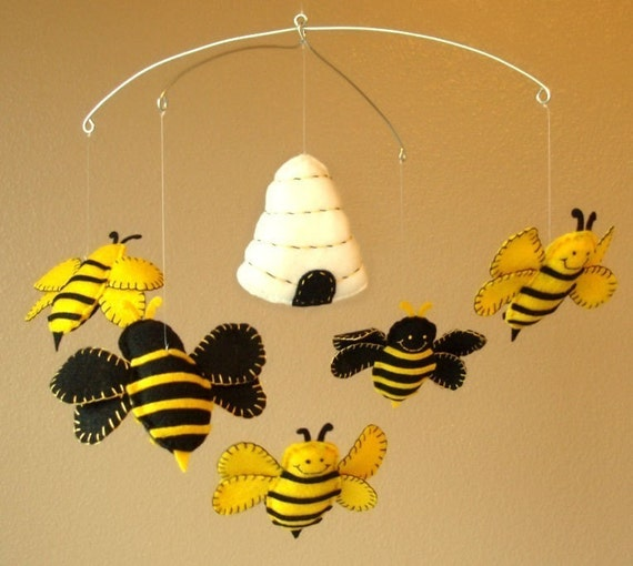 bumble bee and beehive baby mobile custom felt colors