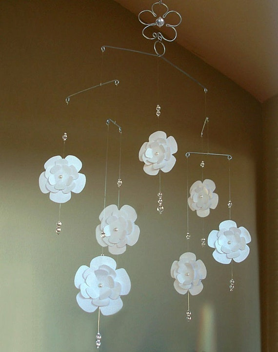 Magnolia flower baby mobile paper design with crystals and - Design babymobel ...