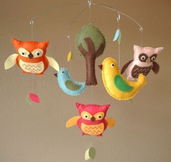 Feathered Friends Bird and Owl Baby Mobile - Custom Felt Colors Available (As Featured in Stitch Magazine)