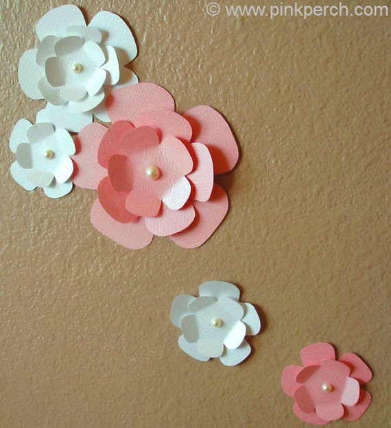 Fancy Magnolia Flower Wall Art (10 Piece Set) - Handmade Paper Design with Pearls (Many Custom Shimmer and Matte Colors Available)