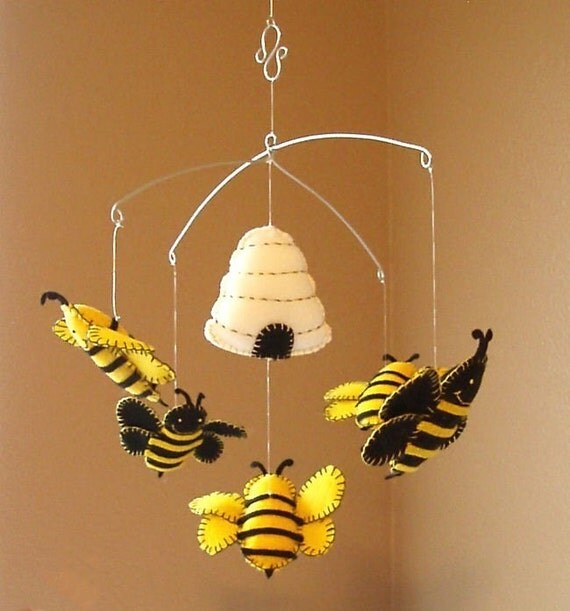Musical Bumble Bee and Beehive Mobile - Custom Colors Available
