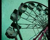 TTV Photograph, Surreal Carnival Photo, Ferris Wheel, Square 8x8 Fine Art Photography Print, Deep Teal