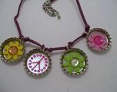 Flower Power Bottle Cap Necklace