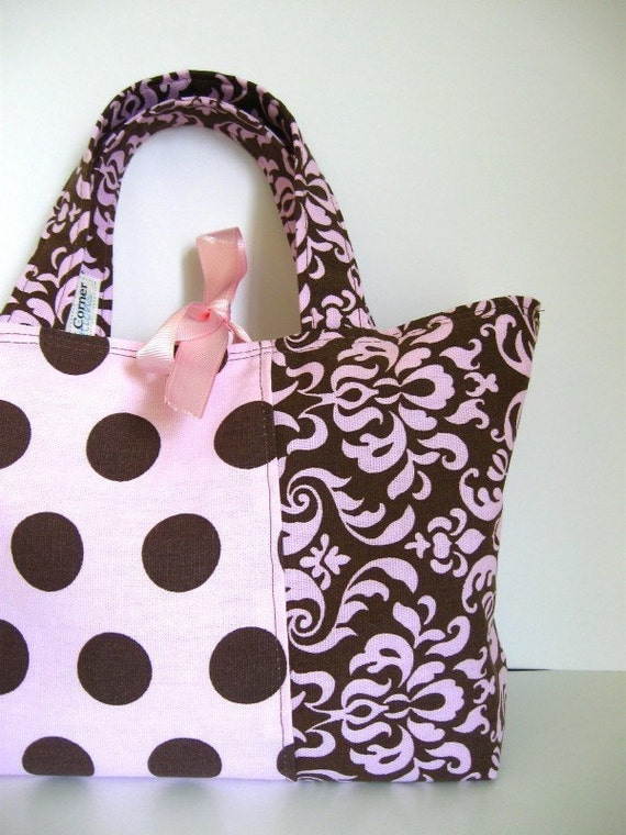 Perfect Small Tote, Pink with Brown Dots and Damask