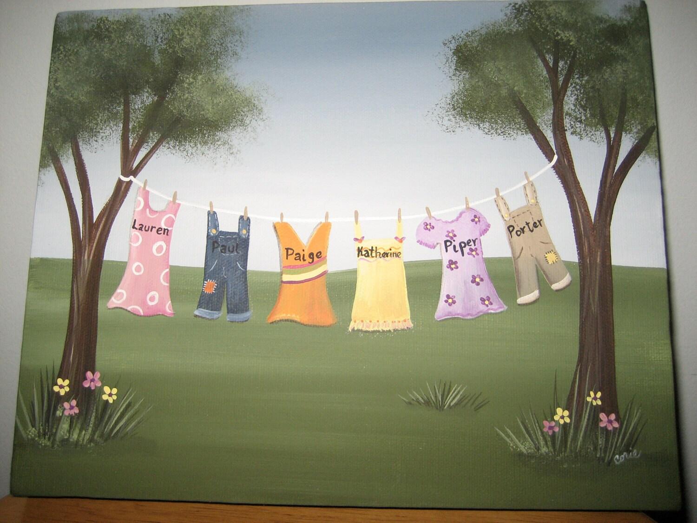 personalized clothesline painting 8 x 10 backyard custom wall