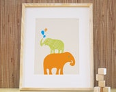 Kids Wall Art, Nursery Art, Kids Art Print and Decor. 11x14 Stacked Elephant Print - Orange