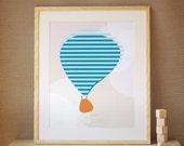 Kids Art Print, Nursery Art, Decor for Baby Nursery, Kids and Children Rooms. 16x20 Hot Air Balloon Print