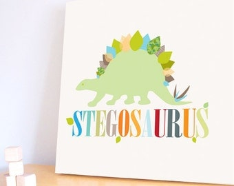 Dinosaur Wall Art, Decor for Baby Nursery, Kids and Children Rooms. 20x20 Stegosaurus Canvas
