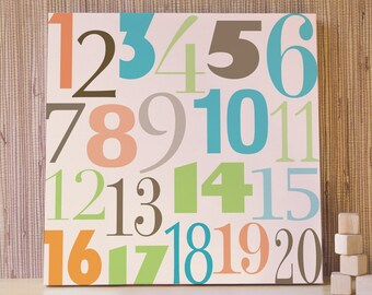 Nursery Wall Art, Decor for Baby Nursery, Kids and Children Rooms. 20x20 Count to 20 Canvas - Green/Orange