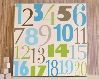Children Wall Art, Decor for Baby Nursery, Kids and Children Rooms. 20x20 Count to 20 Canvas - Blue/Green