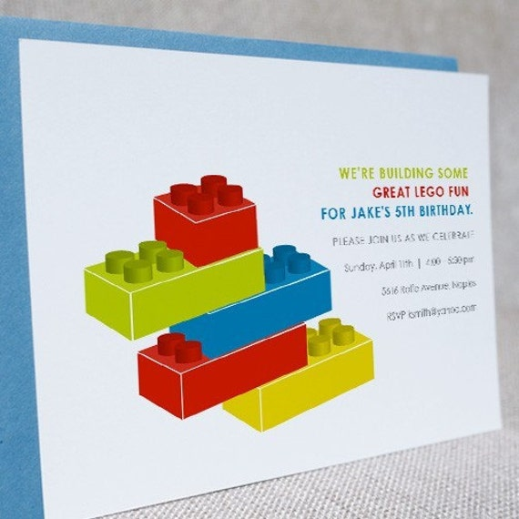 kids custom party invitation lego, Party invitations