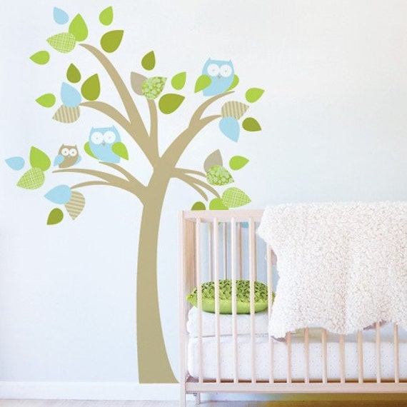 Tree with Owls Fabric Decal - Removable and Reusable Wall Decal for Nursery or Kids Room