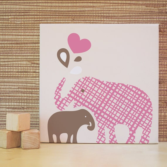 Items similar to pink elephant baby elephant children for 10x10 kids room