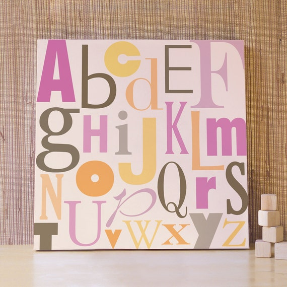 Nursery Artwork, Decor for Baby Nursery, Kids and Children Rooms. 20x20 ABC Canvas - Pink and Yellow