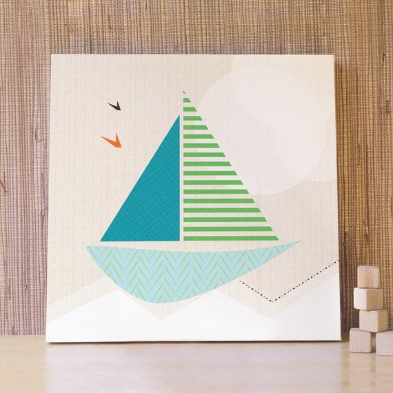 Sailing Boat Decor, Sail Boat, Nautical Art, Boys Wall Art, Blue Boat, Kids Wall Art. 20x20 Sail Boat Canvas