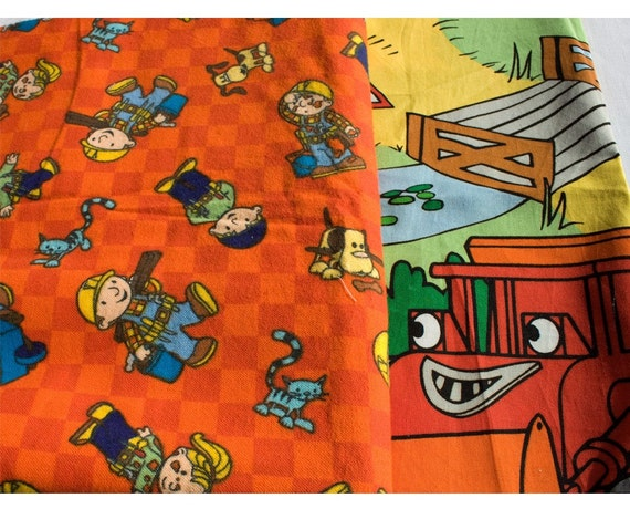 Bob the Builder flannel and print fabric cuts