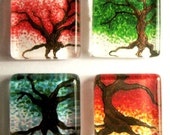 Colorful Trees - Set of Four (4) Handmade Glass Tile Magnets