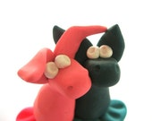 Pink and Teal Lovesick Mroosaurs - Original Handmade Sculpey Creatures