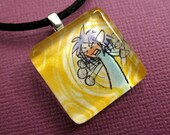 Frustrated Flailing Fantasy Fellow - Original Comic Art Handcrafted Glass Tile Necklace