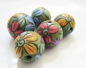Summer Flowers Etched Line Polymer Clay Bead Set
