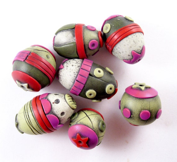 Raspberry Sage Circus Polymer Clay Beads