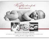 """Holiday Baby Announcement """"The Holidays came early"""" Photo Card Design (4x6 or 5x7)"""