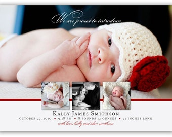Simple Elegance Four Picture Birth Announcement (4x6 or 5x7) Photo Card Design