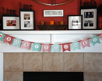 """INSTANT DOWNLOAD:  Red Wagon Banner """"Baby Shower""""  -  Red and Mint"""