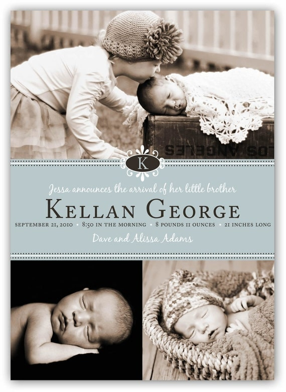 Baby Boy or Girl Customizable Emblem Initial Birth (4x6 or 5x7) Announcement Photo Card Design