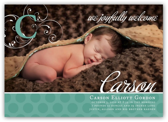Baby Boy or Girl Customizable one picture Horizontal fancy Birth (4x6 or 5x7) Announcement Photo Card Design