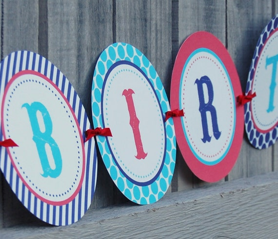 INSTANT DOWNLOAD:  Under The Bigtop Printable Happy Birthday Banner - Circus themed