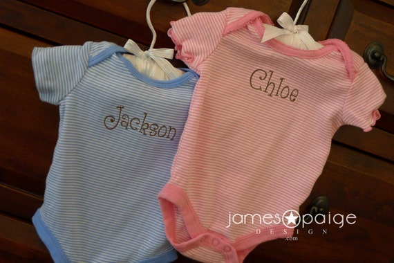 Custom Name Baby Onesie  - Choose your font style and thread color.
