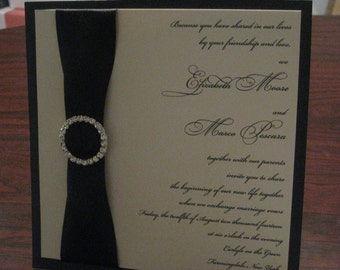 Black and Ivory Elegant Buckled and Crystal Wedding Invitation