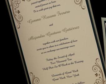Classy Layered Pocketfold Invitation