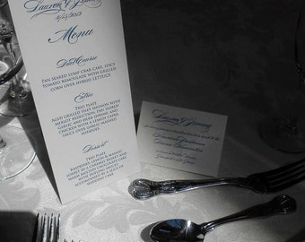 Classic White and Navy Menu Card