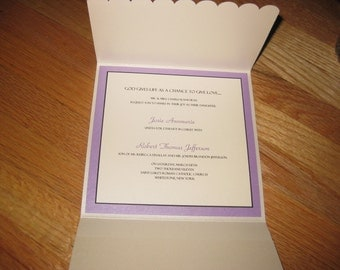 6.25 inch Ivory Religious Wedding invitation with light purple and white layers