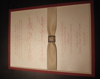 Red and Ivory Elegant Buckled Wedding Invitation