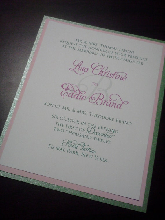 Elegant, Fun, Fancy, Layered 4.5 x 6 Green, Pink and White Wedding Invitation