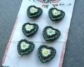 Antique Austrian 1930's glass heart buttons