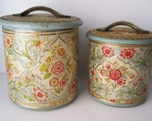 Pair of Pretty Floral Tins from Holland