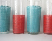 Retro Drinking Glasses in Turquoise and Red