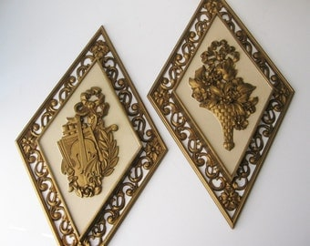 Pair of Mid Century Syroco Wall Plaques