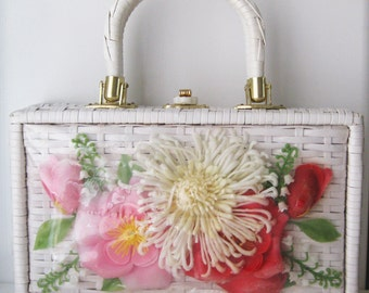 ON SALE Plastic Flowers and Wicker Box Purse, made in Hong Kong